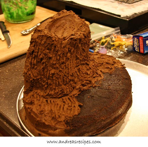 Andreas Recipes - Volcano Birthday Cake, chocolate frosting